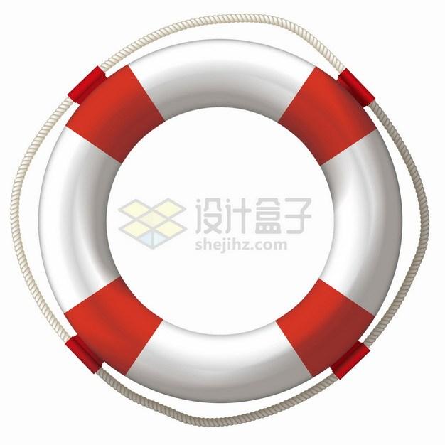红白相间的救生圈游泳圈png图片素材 休闲娱乐-第1张
