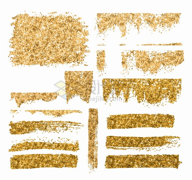各种金粉涂鸦色块png图片素材 边框纹理-第1张