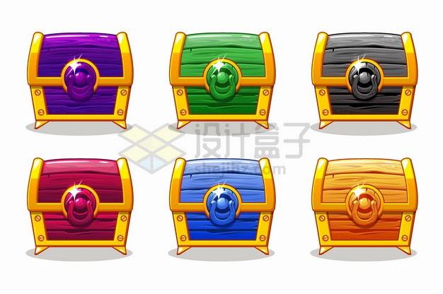 6款彩色游戏宝物箱彩色黄金木箱png图片素材 金融理财-第1张