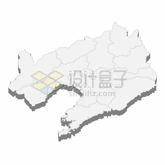 辽宁省地图3D立体阴影行政划分地图847778png矢量图片素材
