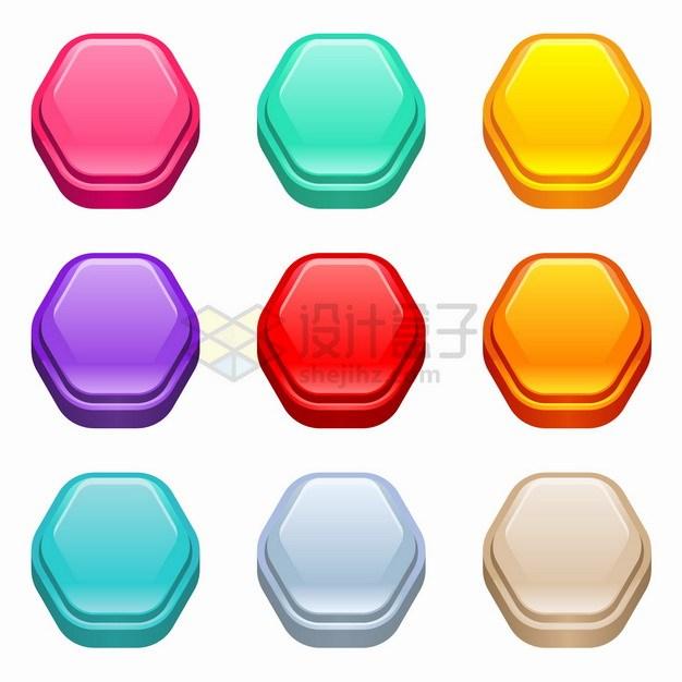 9款六边形3D立体水晶按钮png图片素材 按钮元素-第1张