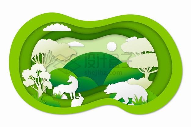 剪纸叠加风格森林中的棕熊狐狸兔子等野生动物png图片素材 生物自然-第1张