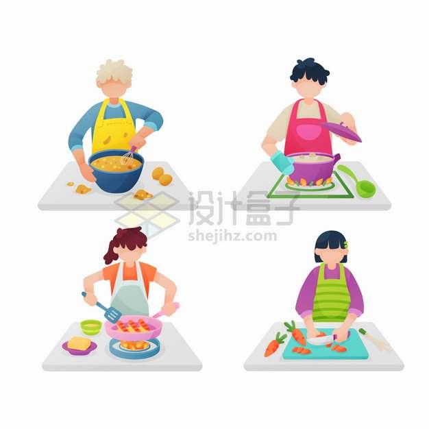 4个正在做饭炒菜的厨师扁平插画png图片素材