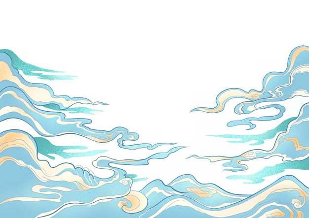 蓝色的祥云中国传统插画829550png图片素材