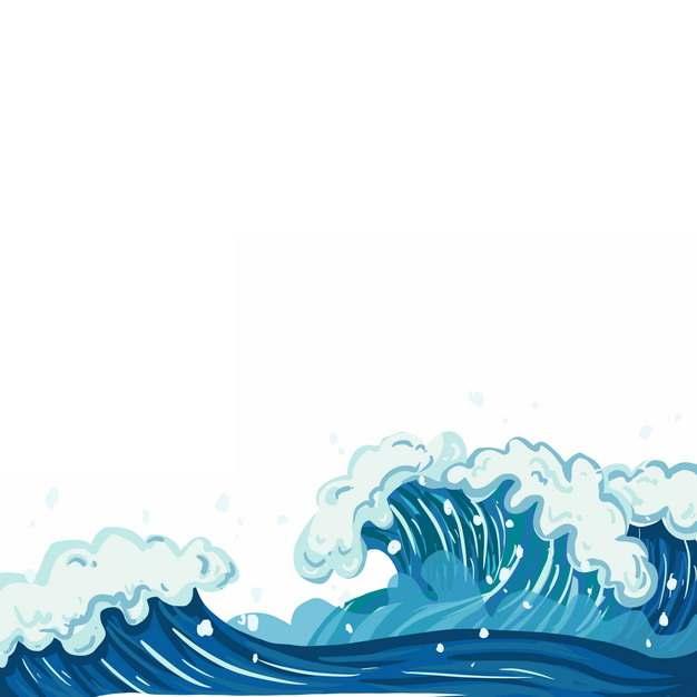 浪花海浪波浪传统插画663972png图片素材