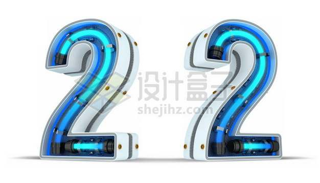 C4D风格蓝色霓虹灯管3D立体数字二2艺术字体289307psd/png图片素材