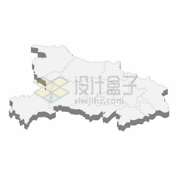 湖北省地图3D立体阴影行政划分地图199078png矢量图片素材 科学地理-第1张