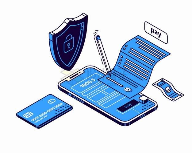 蓝色2.5D风格电子账单手机付款支付png图片素材