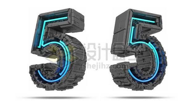 C4D风格蓝色灯光黑色科幻3D立体数字五5艺术字体454030psd/png图片素材