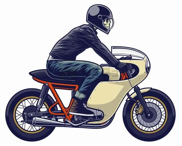 戴头盔的骷髅头骑手骑摩托车卡通漫画插画png图片素材