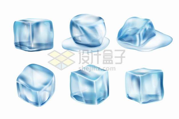 6个融化的淡蓝色冰块png图片素材