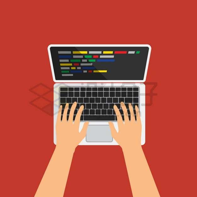 双手在笔记本电脑上进行操作俯视视角扁平插画png图片素材