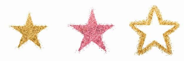 金粉涂鸦五角星和红色五角星png图片素材