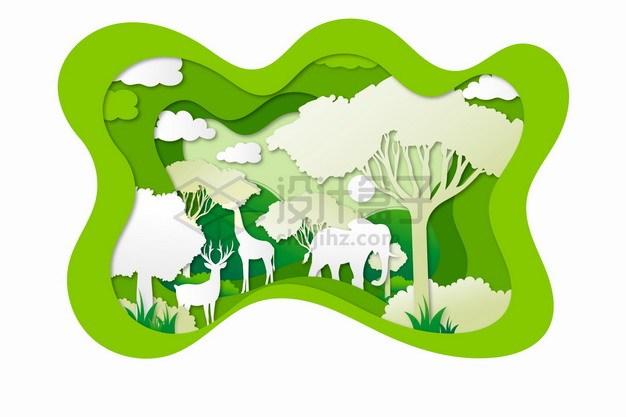 剪纸叠加风格非洲大草原上的大树和野生动物png图片素材 生物自然-第1张