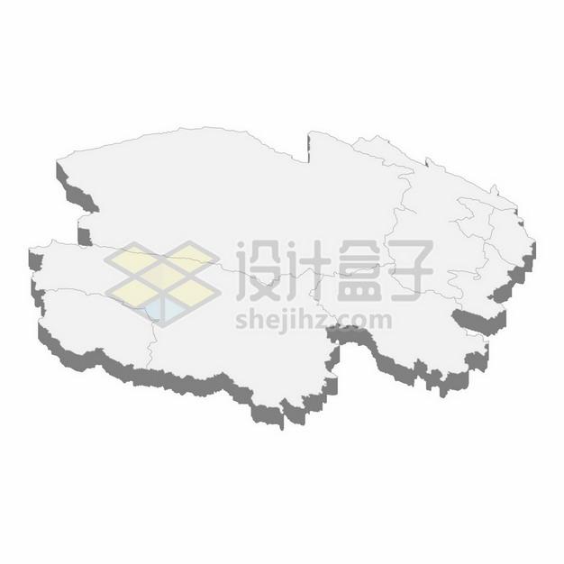 青海省地图3D立体阴影行政划分地图911995png矢量图片素材 科学地理-第1张