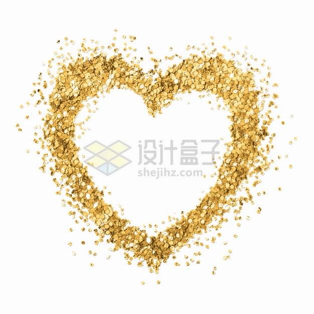金色涂鸦心形图案png图片素材 装饰素材-第1张
