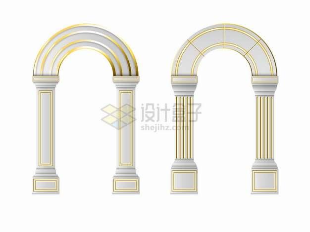 两款金色线条装饰的拱柱拱门拱形建筑png图片素材
