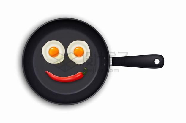 平底锅里的两个煎蛋和辣椒组成了笑脸美味早餐png图片素材 生活素材-第1张