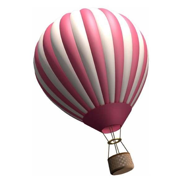 粉色白色条纹热气球120916png图片素材