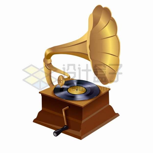 逼真的复古音乐留声机png图片素材