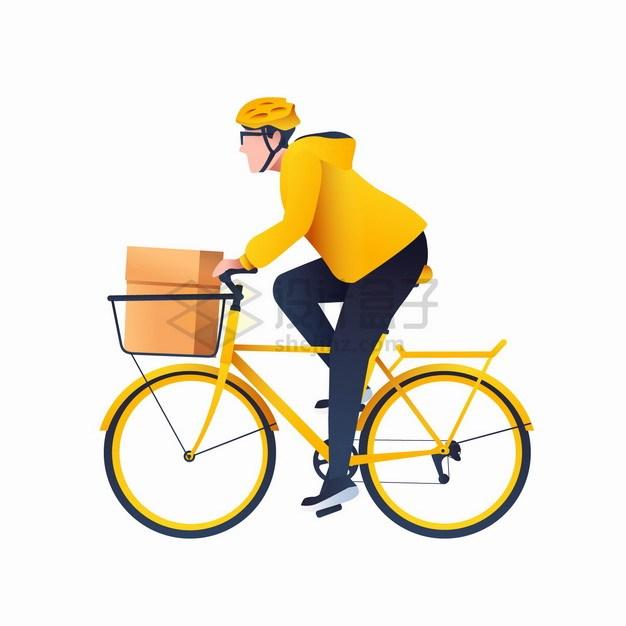 卡通黄衣服的快递员骑自行车送货png图片素材 交通运输-第1张