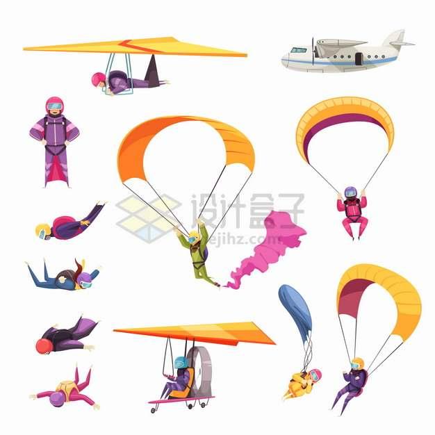 滑翔伞降落伞高空跳伞滑翔机飞机等极限运动png图片素材