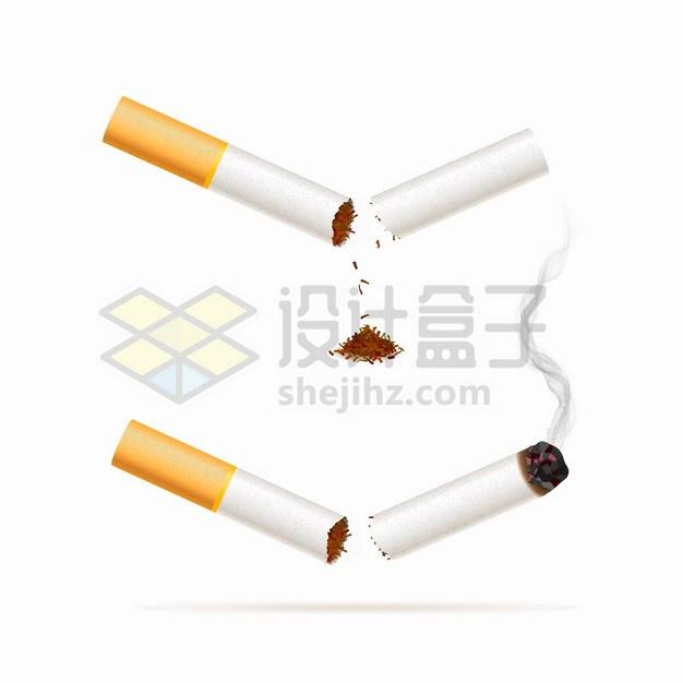 折断的香烟正在冒烟燃烧的烟头吸烟有害健康png图片素材 健康医疗-第1张