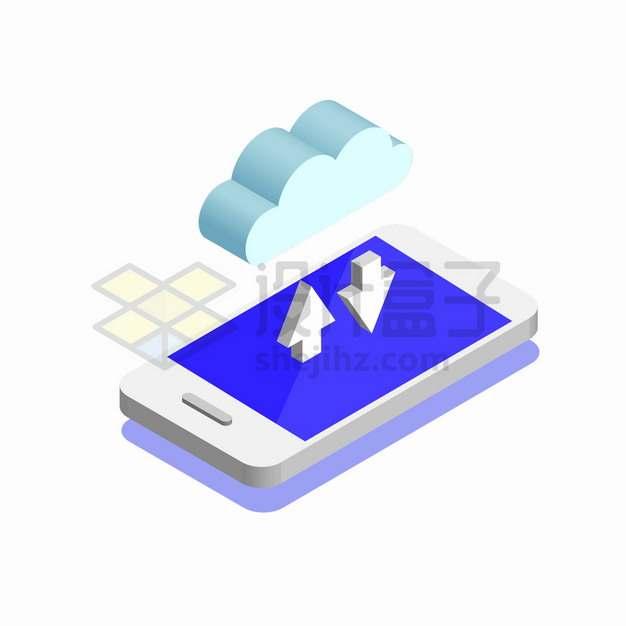 2.5D风格手机上的3D云朵象征了云计算服务png图片素材