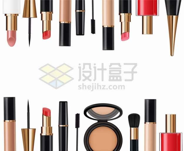 粉饼口红睫毛膏化妆刷眼影遮瑕膏指甲油眼线笔等化妆品美妆品装饰png图片素材