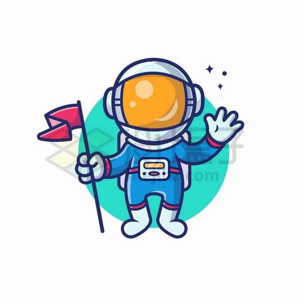 MBE风格卡通宇航员拿着红旗png图片素材