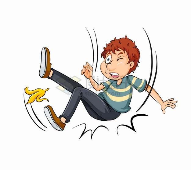卡通年轻人踩到香蕉皮滑倒小心地滑png图片素材