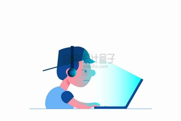 玩笔记本电脑的卡通年轻人网瘾png图片素材 IT科技-第1张