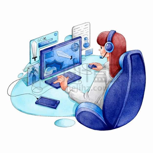 卡通女孩正在玩电脑游戏上瘾水彩插画png图片素材