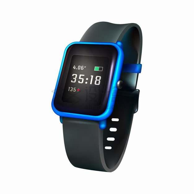 一款蓝色表壳的智能手表png图片素材