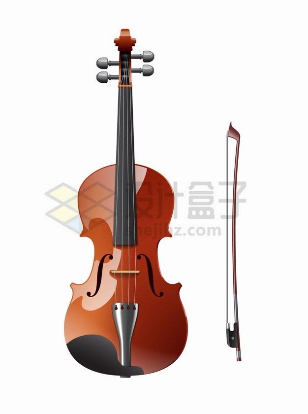 一把小提琴和琴弓西洋音乐乐器png图片素材 休闲娱乐-第1张