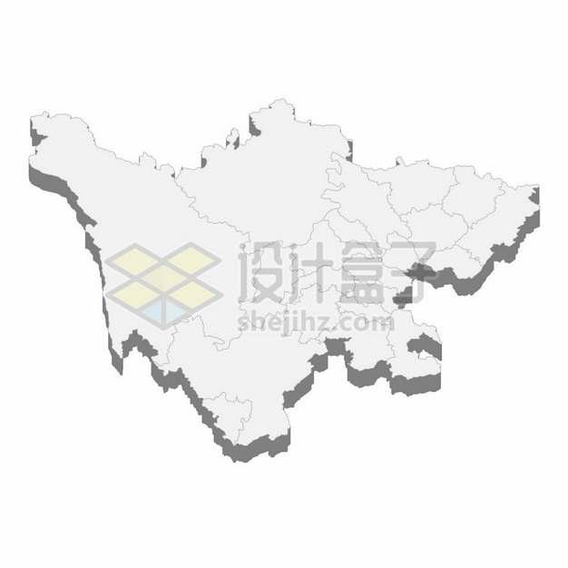 四川省地图3D立体阴影行政划分地图135160png矢量图片素材