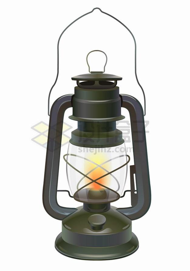 逼真的复古风格煤油灯老油灯png图片素材 生活素材-第1张