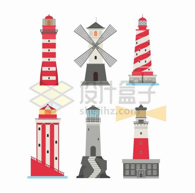 6款扁平化风格灯塔png图片素材 建筑装修-第1张