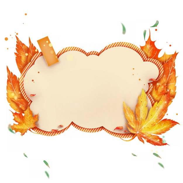 黄色枫叶装饰的云朵状文本框标题框信息框323729png图片素材