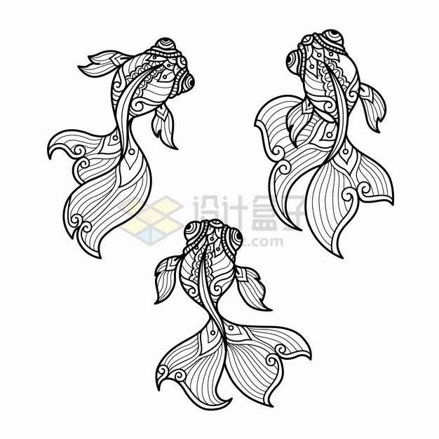 游泳的金鱼抽象图案线条插画png图片素材