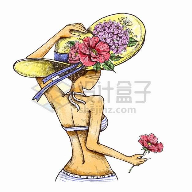 炎炎夏日夏天里戴着草帽拿着鲜花的窈窕淑女背影美女彩绘插画png图片素材