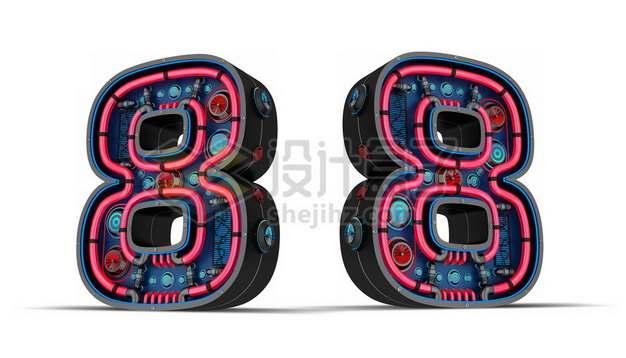 C4D风格红黑色3D立体数字八8艺术字体427774psd/png图片素材