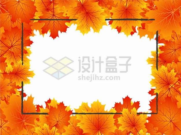 金秋时节秋天浓密的火红色枫叶黑色线条边框装饰png图片素材