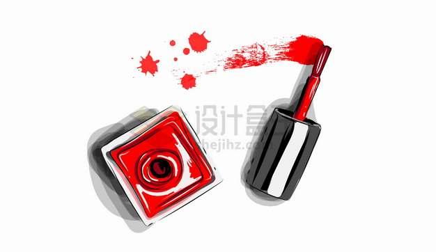 指甲油化妆美妆彩绘插画png图片素材