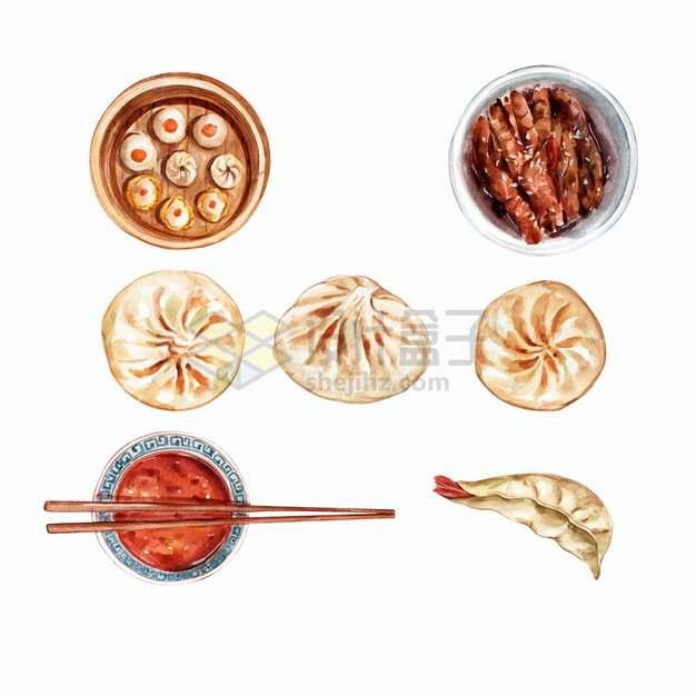 肉包子豉汁蒸排骨胡辣汤虾饺等粤式早茶美味早餐点心早点美食水彩插画png图片素材