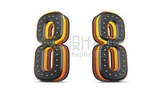 C4D风格黄色黑色3D立体数字八8艺术字体741052psd/png图片素材