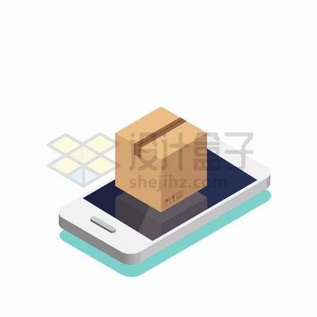 2.5D风格手机上的纸箱子包装箱手机购物网上购物png图片素材