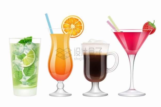 加冰柠檬汁橙汁咖啡和鸡尾酒等美味饮料冷饮png图片素材