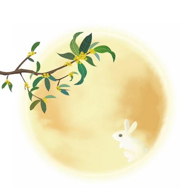 中秋节桂花树和月亮上的玉兔473215png图片素材 节日素材-第1张