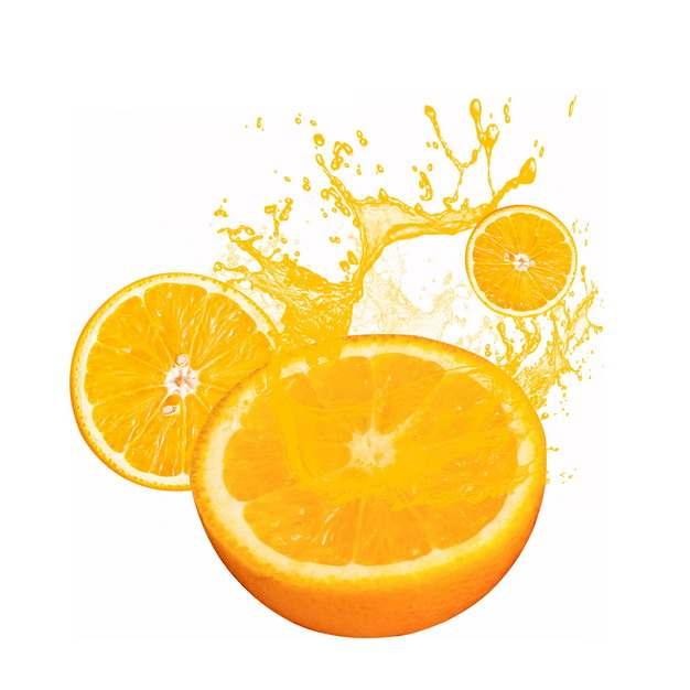 橙汁飞溅效果和切开的橙子切面683292png图片素材